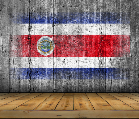 Costa Rica flag painted on background texture gray concrete with wooden floor Stock Photo