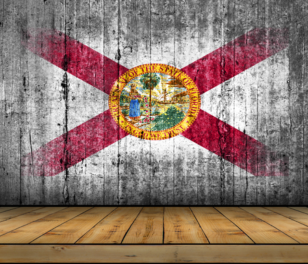 u.s. flag: Florida flag painted on background texture gray concrete with wooden floor Stock Photo