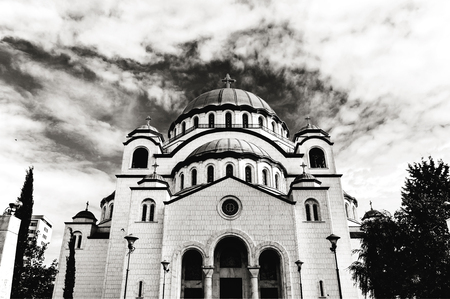 B&W the Saint Sava christian catedral with blue cloudy sky in the capital Belgrade Stock Photo