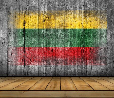 Lithuania flag painted on background texture gray concrete with wooden floor Stock Photo
