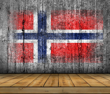 Norway flag painted on background texture gray concrete with wooden floor Stock Photo