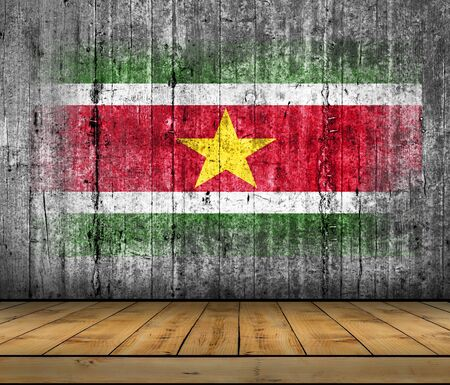 Suriname flag painted on background texture gray concrete with wooden floor