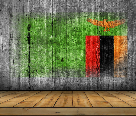 Zambia flag painted on background texture gray concrete with wooden floor Stock Photo