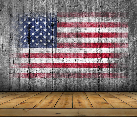 USA flag painted on background texture gray concrete with wooden floor Stock Photo