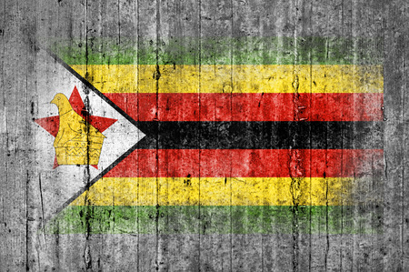 Zimbabwe flag painted on background texture gray concrete