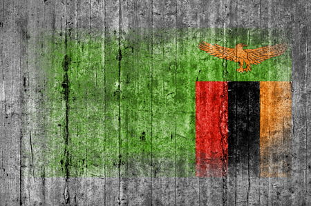 Zambia flag painted on background texture gray concrete Stock Photo