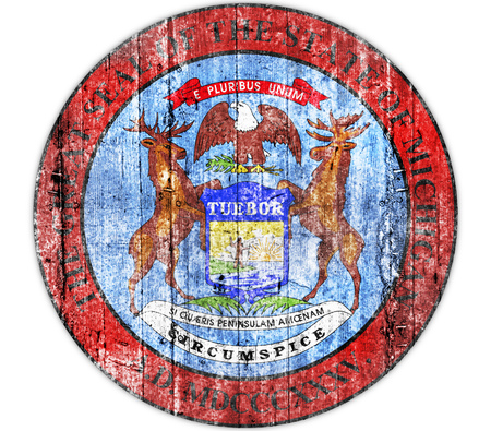 Michigan seal concrete flag