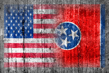 painted wood: USA and Tennessee flag on concrete wall Stock Photo