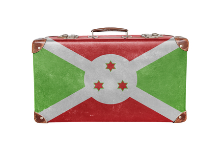 Vintage suitcase with Burundi flag Foto de archivo