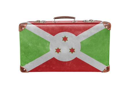 Vintage suitcase with Burundi flag Banque d'images