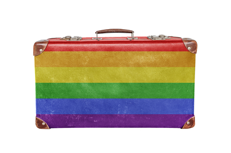 Vintage suitcase with LGBT flag