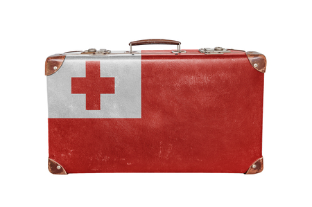 Vintage suitcase with Tonga flag