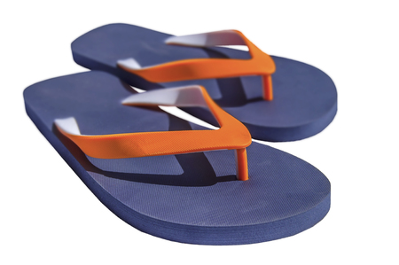 Man lifestyle four relax flip flops isolated on white Reklamní fotografie