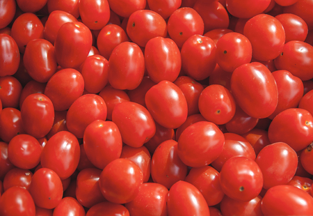 Organic fresh small red ripe cherry tomatoes on the market on sunny day Stock Photo