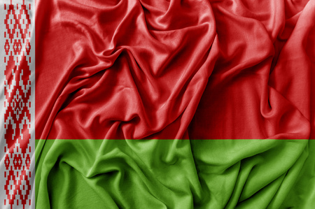 Ruffled waving Belarus flag
