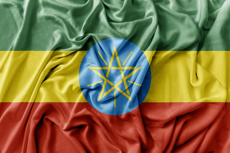Ruffled waving Ethiopia flag