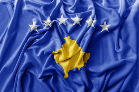 Ruffled waving Kosovo flag