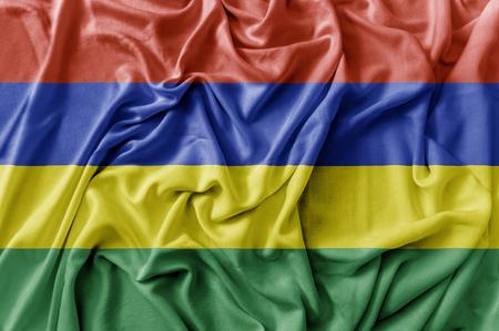 Ruffled waving Mauritius flag