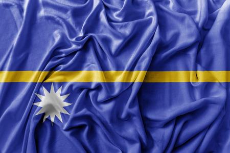 Ruffled waving Nauru flag