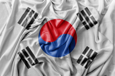 Ruffled waving South Korea flag