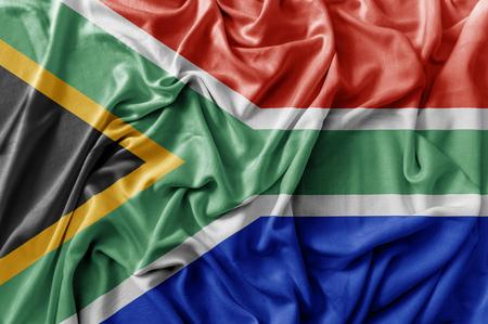 Ruffled waving South Africa flag Imagens