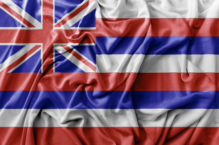 Ruffled waving United States Hawaii flag Stock Photo