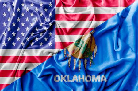 Ruffled waving United States of America and Oklahoma flag Zdjęcie Seryjne