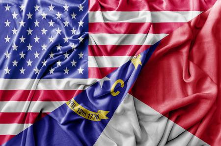 Ruffled waving United States of America and North Carolina flag Zdjęcie Seryjne