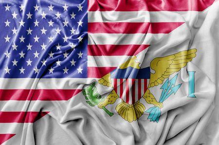 Ruffled waving United States of America and Virgin Islands flag