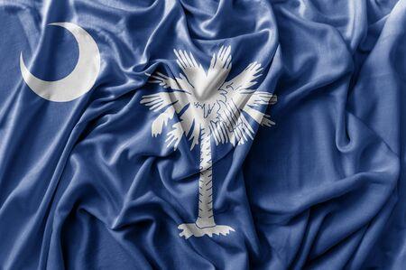 Ruffled waving United States South Carolina flag