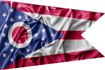 Ruffled waving United States Ohio flag