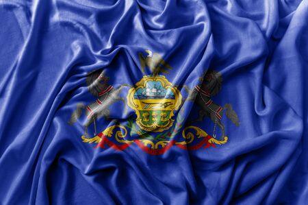 Ruffled waving United States Pennsylvania flag
