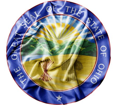 Ruffled waving United States Ohio Seal flag Zdjęcie Seryjne