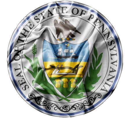 Ruffled waving United States Pennsylvania Seal flag