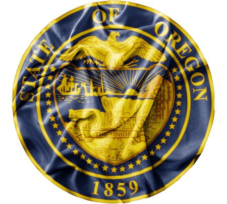 Ruffled waving United States Oregon Seal flag