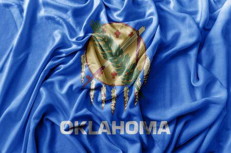 Ruffled waving United States Oklahoma flag