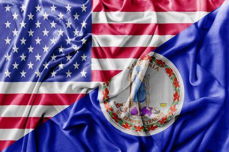 Ruffled waving United States of America and Virginia flag