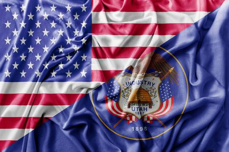 Ruffled waving United States of America and Utah flag