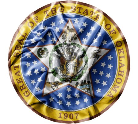 Ruffled waving United States Oklahoma Seal flag