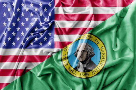 Ruffled waving United States of America and Washington flag