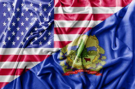 Ruffled waving United States of America and Vermont flag Zdjęcie Seryjne