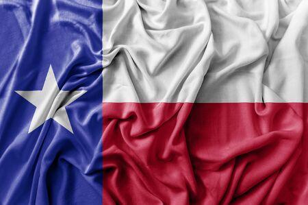 Ruffled waving United States Texas flag