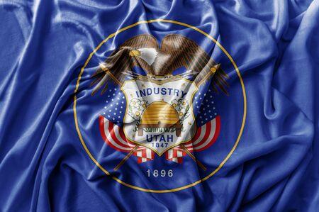 Ruffled waving United States Utah flag
