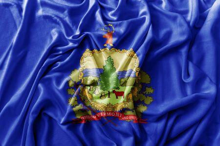 Ruffled waving United States Vermont flag