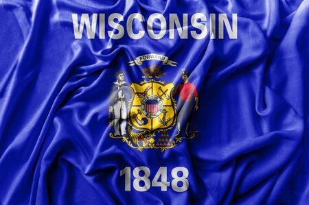 Ruffled waving United States Winsconsin flag