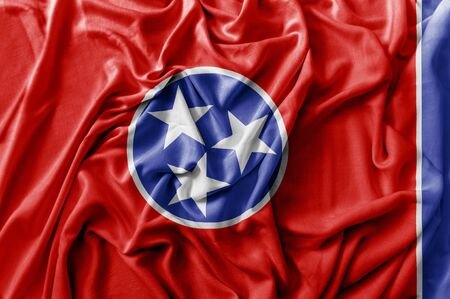 Ruffled waving United States Tennessee flag