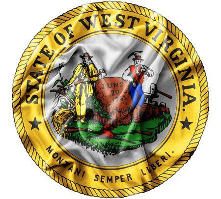 Ruffled waving United States West Virginia Seal flag