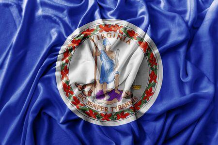 Ruffled waving United States Virginia flag