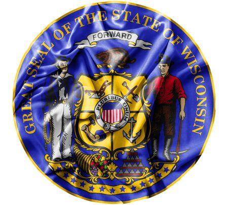 Ruffled waving United States Winsconsin Seal flag