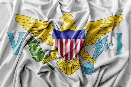 Ruffled waving United States United States Virgin Islands flag